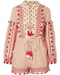 Dodo Bar Or | Embellished Striped Cotton-gauze Playsuit | Lyst