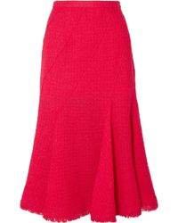 Oscar de la Renta - Frayed Wool-blend Tweed Midi Skirt - Lyst