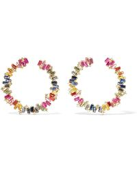 Suzanne Kalan - Spiral 18-karat Gold, Sapphire And Diamond Hoop Earrings - Lyst