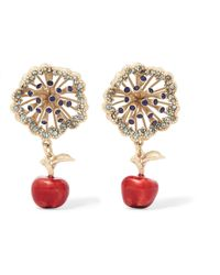 Valentino | Gold-tone, Crystal And Enamel Earrings | Lyst