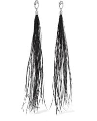 Saint Laurent - Silver-tone Feather Clip Earring - Lyst