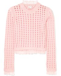 Giambattista Valli - Lace-trimmed Open-knit Wool And Mohair-blend Sweater - Lyst