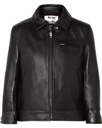 Acne Studios - Cropped Leather Biker Jacket - Lyst