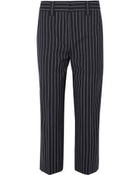Acne | Cropped Pinstriped Wool And Cotton-blend Straight-leg Pants | Lyst
