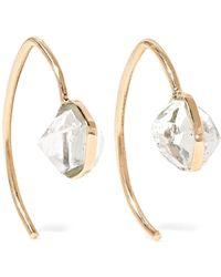 Melissa Joy Manning - Mini Wishbone 14-karat Gold Herkimer Diamond Earrings - Lyst