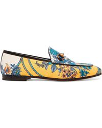 fb937985cce Gucci - Jordaan Horsebit-detailed Leather-trimmed Printed Twill Loafers -  Lyst