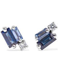 Suzanne Kalan - 18-karat White Gold, Sapphire And Diamond Earrings - Lyst