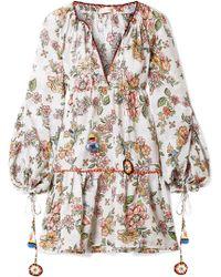 Anjuna - Sabrina Printed Cotton-gauze Mini Dress - Lyst