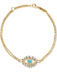 Suzanne Kalan - 18-karat Gold, Diamond And Turquoise Bracelet - Lyst