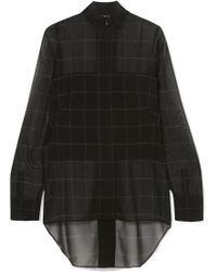 Akris - Checked Mulberry Silk-georgette Blouse - Lyst