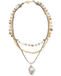 Chan Luu - Layered Gold-plated And Cord Multi-stone Necklace - Lyst