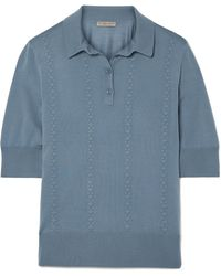 Bottega Veneta - Intrecciato-trimmed Wool Polo Shirt - Lyst