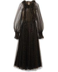 Monique Lhuillier - Appliquéd Ruffled Tulle Gown - Lyst