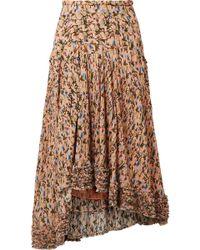Chloé - Asymmetric Pintucked Floral-print Georgette Skirt - Lyst