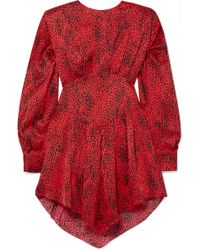 Alessandra Rich - Leopard-print Silk-jacquard Mini Dress - Lyst