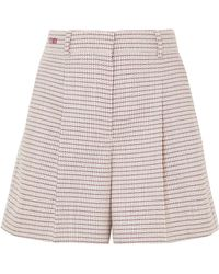 Fendi - Pleated Checked Wool-blend Shorts - Lyst