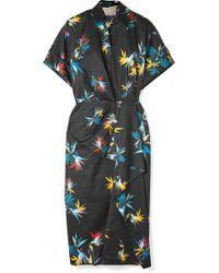 Jason Wu - Wrap-effect Printed Cotton-poplin Dress - Lyst