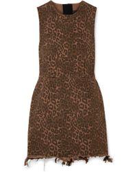 Alexander Wang - Frayed Leopard-print Cotton-twill Mini Dress - Lyst