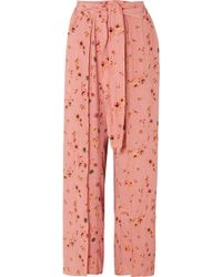 Faithfull The Brand - Tiki Tiki Floral-print Crinkled-crepe Wide-leg Trousers - Lyst