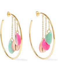 Aurelie Bidermann - Gold-plated, Shell And Enamel Hoop Earrings - Lyst