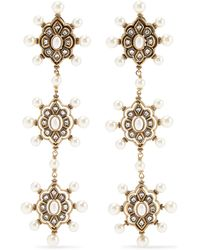 Gucci - Gold-tone Faux Pearl And Crystal Earrings - Lyst