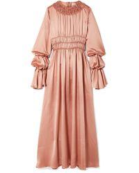 ROKSANDA - Zoya Ruched Silk-satin Maxi Dress - Lyst