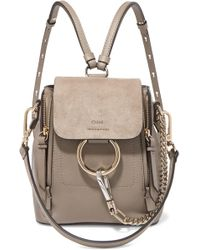Chloé - Faye Mini Textured-leather And Suede Backpack - Lyst