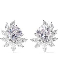 Kenneth Jay Lane - Rhodium-plated Cubic Zirconia Clip Earrings - Lyst