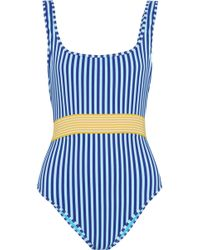 Diane von Furstenberg - Belted Striped Swimsuit - Lyst