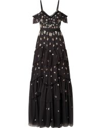 Needle & Thread - Lustre Cold-shoulder Embellished Tulle Gown - Lyst