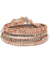 Chan Luu - Leather, Gunmetal-plated And Multi-stone Wrap Bracelet - Lyst