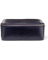 Smythson - Mara Croc-effect Leather Jewelry Case - Lyst