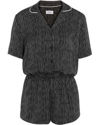 DKNY - Printed Washed-satin Playsuit - Lyst