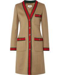 Gucci - Grosgrain-trimmed Wool Coat - Lyst