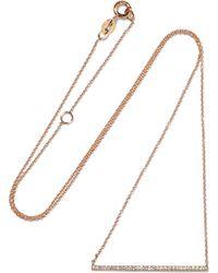 Diane Kordas - Bar 18-karat Rose Gold Diamond Necklace - Lyst