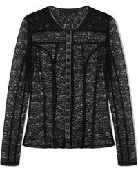 Alexander Wang - Faux Leather-trimmed Stretch-lace Top - Lyst