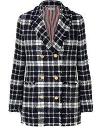 Thom Browne - Checked Wool-blend Tweed Blazer - Lyst