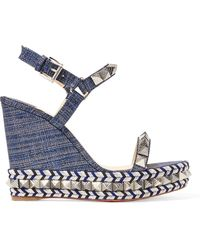 Christian Louboutin - Pyraclou 110 Spiked Lamé Wedge Sandals - Lyst