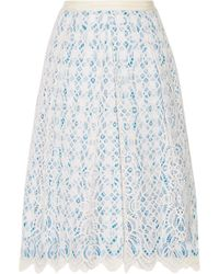 Draper James - Lakeville Lace And Gingham Cotton-blend Skirt - Lyst