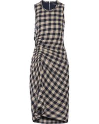 James Perse - Ruched Checked Wool And Linen-blend Dress - Lyst