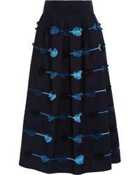 Lela Rose   Embroidered Poplin Full Skirt   Lyst