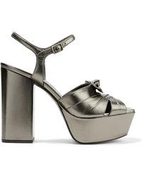 Saint Laurent - Farrah Bow-embellished Metallic Leather Platform Sandals - Lyst