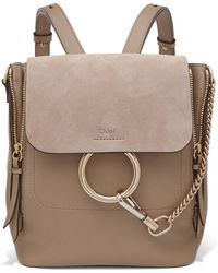 Chloé - Faye Small Textured-leather And Suede Backpack - Lyst