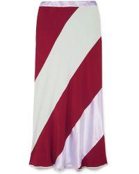 Marni - Striped Crepe De Chine Midi Skirt - Lyst