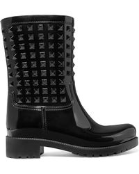 Valentino - Garavani The Rockstud Glossed-rubber Rain Boots - Lyst