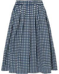 MICHAEL Michael Kors - Checked Cotton-blend Poplin Skirt - Lyst