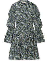 MICHAEL Michael Kors - Smocked Floral-print Crepe Dress - Lyst