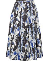 Marni - Pleated Printed Cotton-poplin Midi Skirt - Lyst