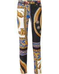 Versace - Printed Skinny Jeans - Lyst
