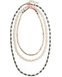Roxanne Assoulin - Suit Up Set Of Three Gold-tone, Enamel And Faux Pearl Necklaces - Lyst